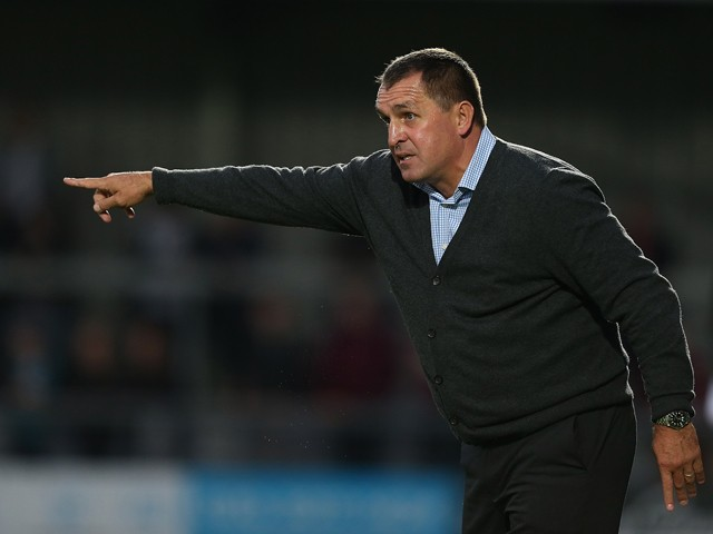 Barnet manager Martin Allen gives instructions during the Sky Bet League Two match between Barnet and Northampton Town at The Hive on August 18, 2015