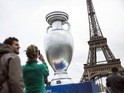 A giant European Championship trophy at the Eiffel Tower in Paris on June 23, 2013 to promote Euro 2016
