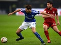 Schalke's midfielder Leon Goretzka (L) and Bayern Munich's Spanish midfielder Xabi Alonso vie for the ball during the German first division Bundesliga football match FC Schalke 04 vs FC Bayern Munich in Gelsenkirchen, western Germany, on November 21, 2015