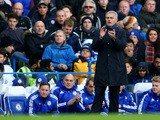 Jose Mourinho Manager of Chelsea gesutres during the Barclays Premier League match between Chelsea and Norwich City at Stamford Bridge on November 21, 2015