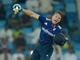 England batsman Jos Buttler celebrates his century in the fourth one-day international against Pakistan in Dubai on November 20, 2015