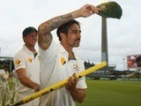 Mitchell Johnson leaves the field after playing his final Test for Australia on November 17, 2015