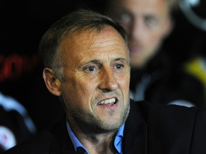 Mark Yates, Manager of Crawley Town looks on during the Sky Bet League Two match between Newport County and Crawley Town at Rodney Parade on September 29, 2015
