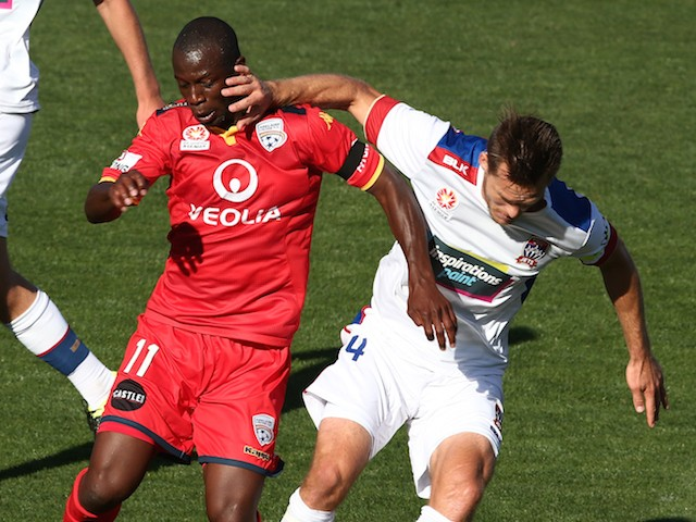 Bruce Djite of Adelaide United competes with Nigel Boogaard of Newcastle Jets during the round seven A-League match between Adelaide United and the Newcastle Jets at Coopers Stadium on November 22, 2015 in Adelaide, Australia.