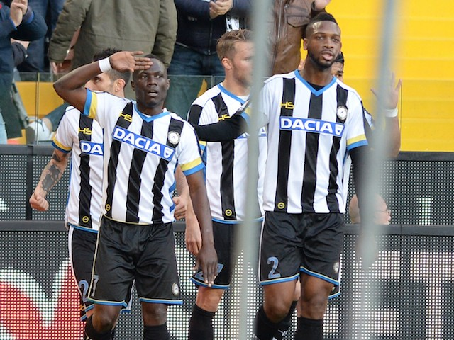 Emmanuel Agyemang Badu of Udinese Calcio celebrates after scoring his opening goal during the Serie A match between Udinese Calcio and UC Sampdoria at Stadio Friuli on November 22, 2015 in Udine, Italy.