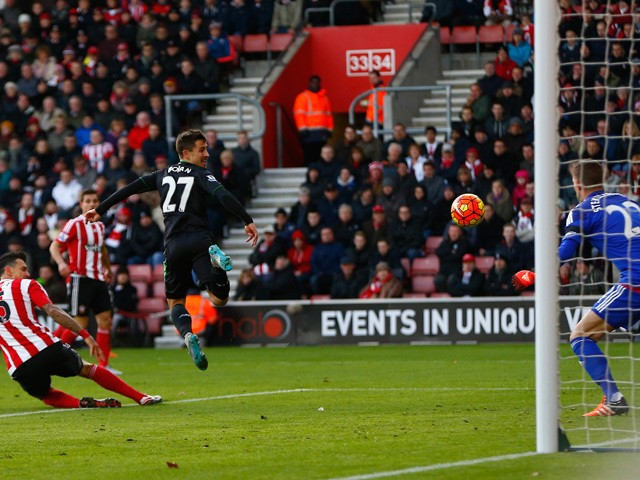 Bojan Krkic of Stoke City scores his team's first goal during the Barclays Premier League match between Southampton and Stoke City at St Mary's Stadium on November 21, 2015