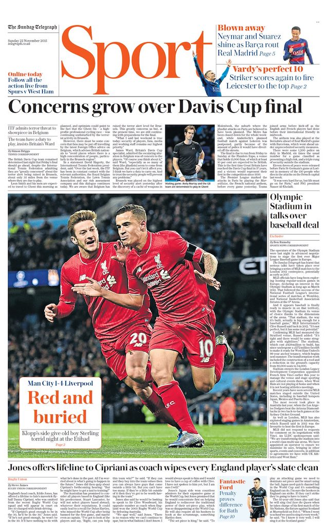 sunday telegraph pages newspaper sports newspapers football november sport mail