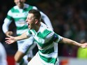 Callum McGregor of Celtic celebrates as he scores their first goal during the UEFA Europa League Group A match between Celtic FC and AFC Ajax at Celtic Park on November 26, 2015 in Glasgow, United Kingdom.