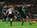Duncan Watmore of Sunderland scores his team's second goal during the Barclays Premier League match between Sunderland and Stoke City at Stadium of Light on November 28, 2015 in Sunderland, England.