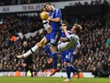 Tottenham Hotspur's English striker Harry Kane (R) attempts an overhead kick by Chelsea's Spanish defender Cesar Azpilicueta during the English Premier League football match between Tottenham Hotspur and Chelsea at White Hart Lane in north London on Novem