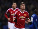 Bastian Schweinsteiger of Manchester United celebrates scoring his team's first goal during the Barclays Premier League match between Leicester City and Manchester United at The King Power Stadium on November 28, 2015 in Leicester, England.