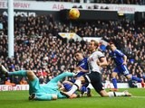 Chelsea's Asmir Begovic foils an attempt from Harry Kane of Spurs on November 29, 2015