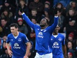 Everton's Belgian striker Romelu Lukaku (C) celebrates scoring his team's second goal during the English Premier League football match between Bournemouth and Everton at the Vitality Stadium in Bournemouth, southern England on November 28, 2015