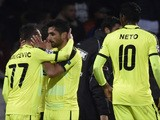 Gent's Serbian midfielder Danijel Milicevic (L) celebrates with teammates after scoring a goal during the UEFA Champions League group H football match between Lyon and Gent on November 24, 2015