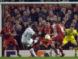 Bordeaux's French forward Henri Saivet (2L) scores during a UEFA Europa League group B football match between Liverpool and Bordeaux at Anfield in Liverpool, north west England, on November 26, 2015