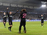 Paris Saint-Germain's French midfielder Adrien Rabiot (C) celebrates scoring with his team-mates during the UEFA Champions League Group A, second-leg football match Malmo FF vs Paris Saint-Germain (PSG) in Malmo, Sweden on November 25, 2015