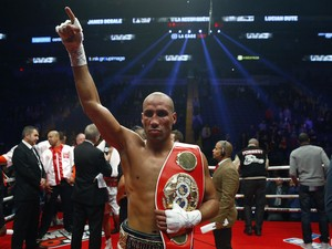 James Degale of England celebrates after defeating Lucian Bute of Canada during their IBF super-middleweight championship fight at the Centre Videotron on November 29, 2015 in Quebec City, Quebec, Canada.