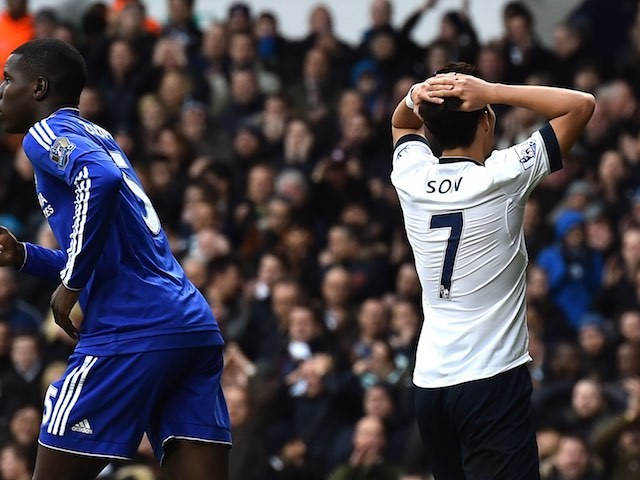 Son Heung-Min reacts after a missed chance for Spurs against Chelsea on November 29, 2015