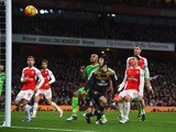 Petr Cech (C) and Arsenal players watch the own goal by Olivier Giroud (not pictured) during the Barclays Premier League match between Arsenal and Sunderland at Emirates Stadiumon December 5, 2015