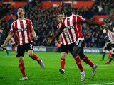Sadio Mane of Southampton (10) celebrates as he scores their first goal with a header during the Capital One Cup quarter final match between Southampton and Liverpool at St Mary's Stadium on December 2, 2015 in Southampton, England