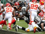 Latavius Murray #28 of the Oakland Raiders dives for a touchdown against the Kansas City Chiefs during their NFL game at O.co Coliseum on December 6, 2015