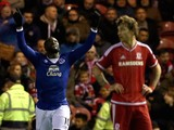Romelu Lukaku (L) of Everton celebrates scoring during their Capital One Cup Quarter Final at Riverside Stadium on December 1, 2015 in Middlesbrough, England.