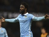 Manchester City's Ivorian striker Wilfried Bony celebrates scoring the opening goal during the English League Cup quarter-final football match between Manchester City and Hull City at the Etihad Stadium in Manchester, northwest England on December 1, 2015