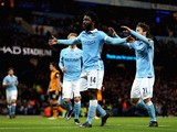 Wilfried Bony of Manchester City celebrates