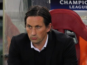 Bayer 04 Leverkusen head coach Roger Schmidt looks on during the UEFA Champions League Group E match between AS Roma and Bayer 04 Leverkusen at Olimpico Stadium on November 4, 2015