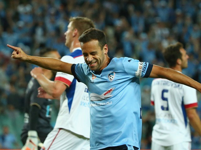 Alex Brosque of Sydney FC celebrates scoring a goal during the round nine A-League match between Sydney FC and the Newcastle Jets at Allianz Stadium on December 4, 2015