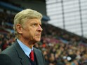 sene Wenger manager of Arsenal looks on prior to the Barclays Premier League match between Aston Villa and Arsenal at Villa Park on December 13, 2015 in Birmingham, England.