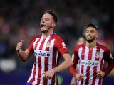 Saul Niguez of Club Atletico de Madrid celebrates after scoring his team's opening goal during the La Liga match between Club Atletico de Madrid and Athletic Club at Vicente Calderon Stadium on December 13, 2015