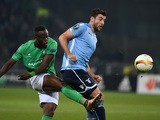 Lazio's Dutch defender Wesley Hoedt (R) vies with Saint-Etienne's Ivorian midfielder Ismael Diomande (C) during the Europa League football match between AS Saint-Etienne and Lazio Rome, on December 10, 2015