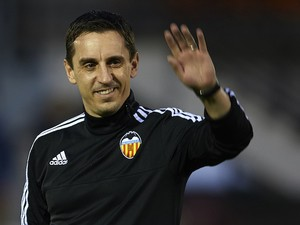 New Valencia head coach Gary Neville during a training session on December 7, 2015