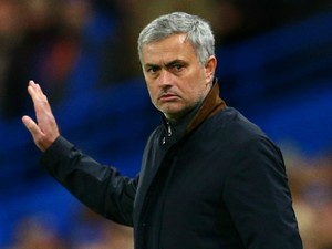 Jose Mourinho, Manager of Chelsea makes a point during the UEFA Champions League Group G match between Chelsea FC and FC Porto at Stamford Bridge on December 9, 2015 in London, United Kingdom.