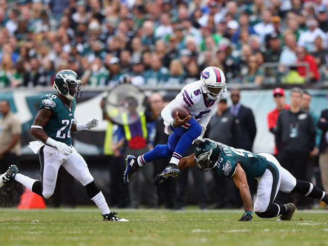 Quarterback Tyrod Taylor #5 of the Buffalo Bills carries the ball against Mychal Kendricks #95 of the Philadelphia Eagles during the first quarter at Lincoln Financial Field on December 13, 2015