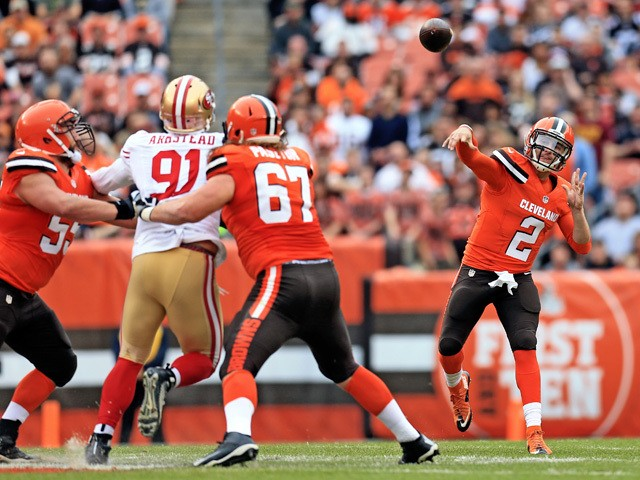Quarterback Johnny Manziel #2 of the Cleveland Browns throws a pass during the first quarter against the San Francisco 49ers at FirstEnergy Stadium on December 13, 2015