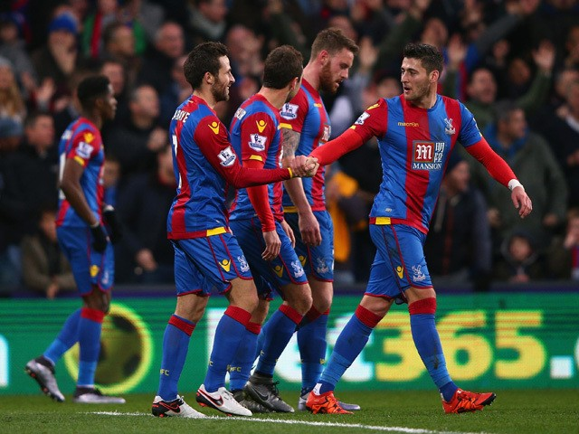Yohan Cabaye (2nd L) of Crystal Palace celebrates scoring his team's first goal with his team mates during the Barclays Premier League match between Crystal Palace and Southampton at Selhurst Park on December 12, 2015