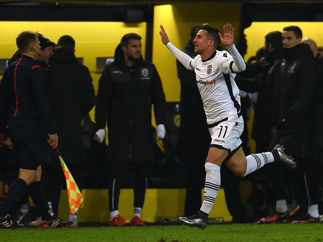 PAOK´s Robert Mak celebrates during the UEFA Europa League football match between Borussia Dortmund and PAOK FC at BVB Stadion Dortmund in Dortmund on December 10, 2015