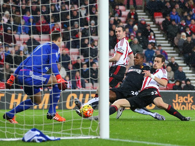 Odion Ighalo (2nd R) of Watford scores his team's first goal during the Barclays Premier League match between Sunderland and Watford at the Stadium of Light on December 12, 2015