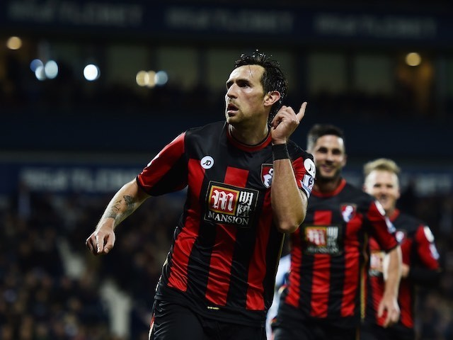 Charlie Daniels celebrates scoring Bournemouth's second against West Brom on December 19, 2015