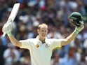 Australia's Adam Voges celebrates reaching his century against the West Indies on December 27, 2015