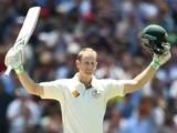 Australia's Adam Voges celebrates reaching his century against the West Indies on December 27, 2015