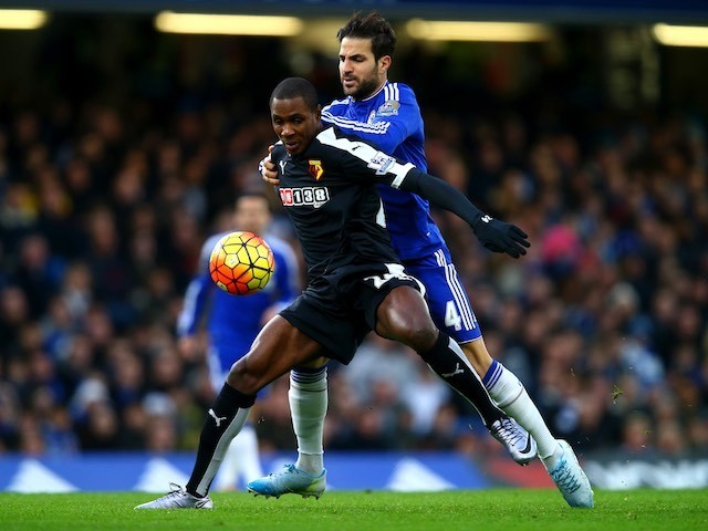 Chelsea's Cesc Fabregas battles with Odion Ighalo of Watford on December 26, 2015
