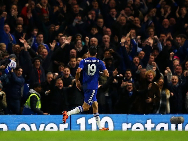 Diego Costa celebrates scoring Chelsea's second against Watford on December 26, 2015