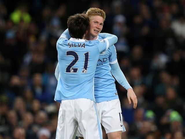 Little Kevin de Bruyne is congratulated by David Silva after scoring for Man City against Sunderland on December 26, 2015