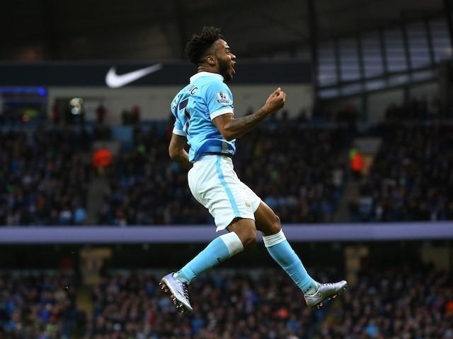 Raheem Sterling celebrates scoring Man City's opener against Sunderland on December 26, 2015