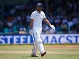 Alastair Cook walks off after being dismissed early during the second innings on day three of the first Test between South Africa and England on December 28, 2015