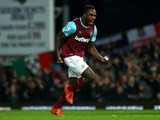 Michail Antonio celebrates scoring for West Ham during the game with Southampton on December 28, 2015