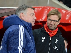 Jurgen Klopp smiles at a disinterested Sam Allardyce ahead of the game between Sunderland and Liverpool on December 30, 2015